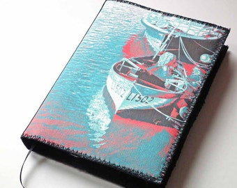 A6 Notebook Cover, Planner Cover, Diary Cover, Removable Slip Cover, Riverside Boats, Printed Canvas, Photo-Art, Free UK Shipping, UK Seller