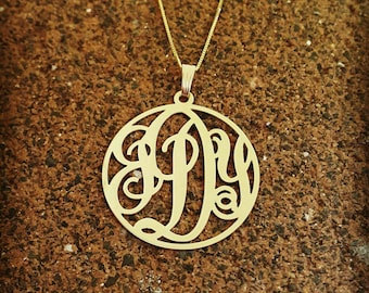 Solid Gold Monogram Pendant / Monogram necklace / monogrammed chain / 14k Gold chain / Black Friday and cyber Monday Sale!!!