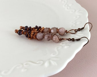 Handcrafted boho wedding dangle earrings in purple and copper. Handcrafted wedding jewelry. One of a kind bohemian.