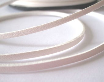 5 m suede effect - white - 3 mm leather cord