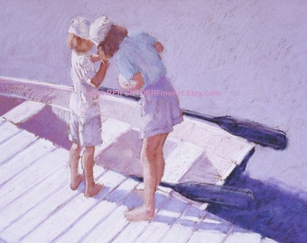 Beach print of two children on a dock, playing, water, boat, blue, lavender, shore, lake, rowboat, summer, summertime, white