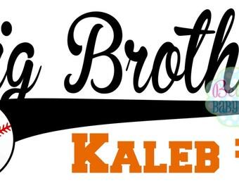Baseball Big or Little Brother Iron on Transfer - Tshirt - Bodysuit - Tote Bags - DIY - Baseball - You choose color