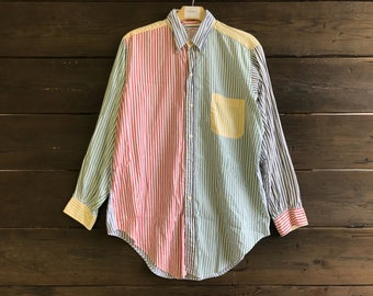 Vintage 90s Brooks Brothers Striped Multicolor Button Up Shirt