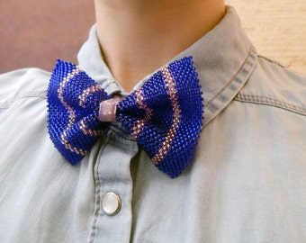 Little bowtie - small neck accessory - blue pink striped bow tie for women on organza ribbon - seed bead jewelry - handmade beadwork