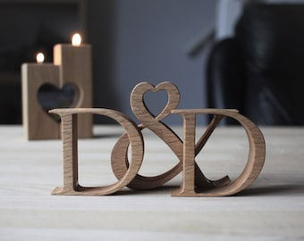 Unique Engagement Gift for couple - Hand crafted wooden letters - Traditional