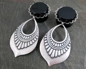 "Dangle Plugs - 3/4"" 19mm - Gothic Plugs - Tribal Plugs - Dangle Gauges - Plug Earrings - Gothic Wedding Gauges - Teardrop Plugs"