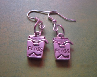 Dental Hygiene Floss Charm Earrings Silver