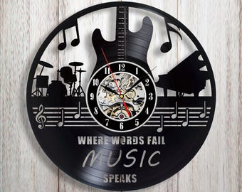 Music lover gift, Music wall clock, Vinyl record wall clock, Music wall art, Music gift for her, Guitar decor, Guitar gift, Music charms