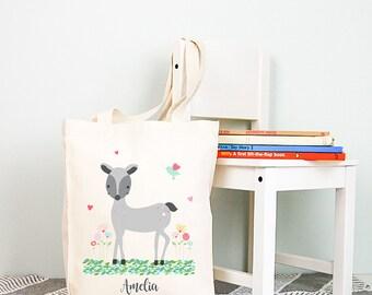 Woodland Deer Girls Personalised Library Tote Bag