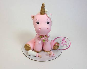 Baby girl unicorn cake topper
