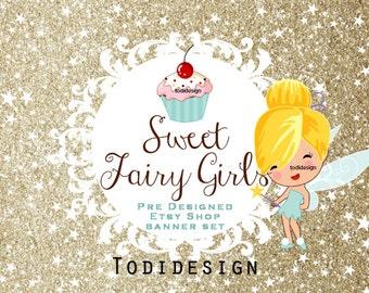 Sweet Fairy Girls- Cute Bakery - Premade Etsy Shop Banner set