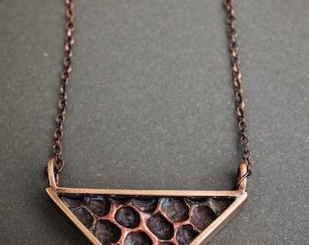 Triangular Forged Honeycomb Pendant