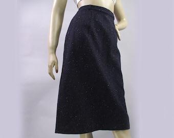 Vintage 60s Skirt Navy Blue Color Fleck Pencil Skirt Wiggle Skirt Rockabilly Skirt S
