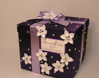 Wedding Card Box Purple and Lavender Gift Card Box Money Box Holder-Customize your color