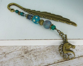 """small bookmark """" unicorn """" bronze / gift for her / for girls / for book lovers / readers / gift under 10"""