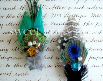 Peacock Fascinator - MUSEE - Set of Mini Peacock Feathers & Jewels - Choose Brooches or Clips