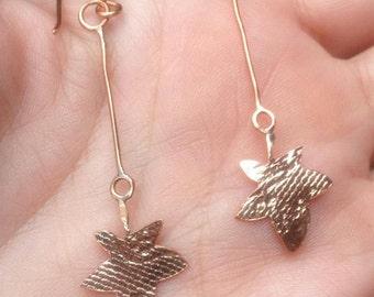 Patterned Copper Leaf Drop Earrings