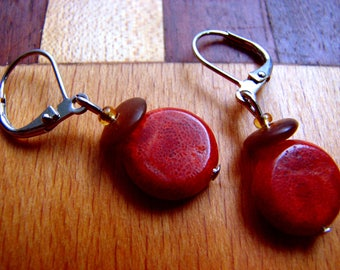 3557 -  Earrings Coral and Amber
