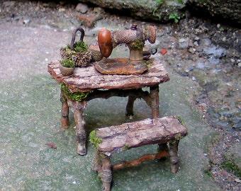 Faery Seamstress, Miniature Sewing Table and Bench, Custom Order, miniature sewing machine, fiber arts, waldorf, dollhouse, woodland