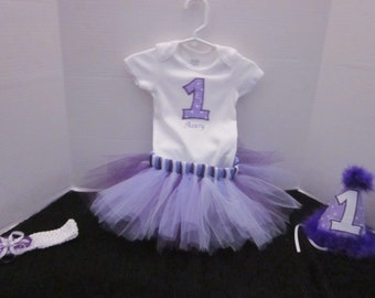 Baby Girls 1st Birthday, Cake Smash Outfit, 1st Birthday Shirt, Birthday Picture Props, 1st Birthday, Purple 1st Birthday Outfit