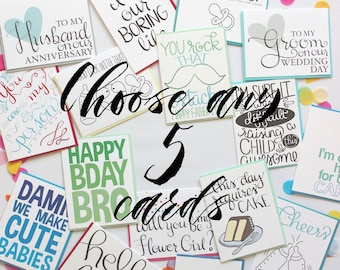 Mix and Match Cards - Card Set of 5 - Pick Any 5 Cards of Your Choice - Bulk Greeting Cards - 5 Pack of Cards - Choose Any Five