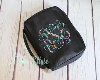 Personalized black Bible Cover - monogrammed soft sided Bible carrying case