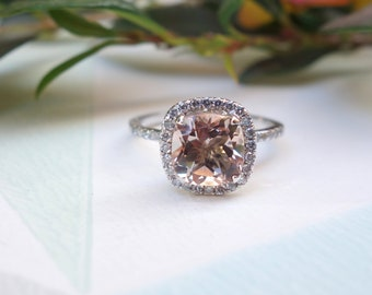 Unique Vintage Style Morganite Engagement Ring in Gold Diamond Wedding Band fine jewelry Halo diamond ring Gemstone Unusual engagement ring