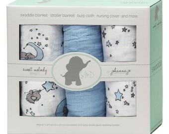 Swaddle Blankets -- Baby Blankets -- Elephant Swaddle Blanket -- Elephant Blue Stars -- Pack of 3 -- Baby Shower Gift -- Baby Boy