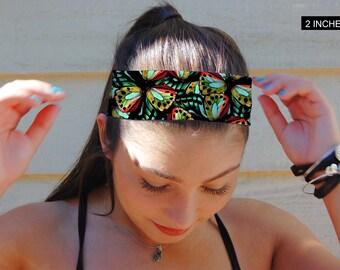 Butterfly headband, Non Slip Headband, Extra Wide Band, Wide Headband, Thin Headband, Yoga Headband, Fitness Headband, Adult Headband
