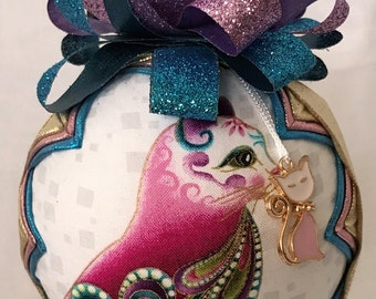 """Metali Gold White Multi Color Cat Handmade Quilted No Sew 4"""" Snow Globe Style Ornament"""