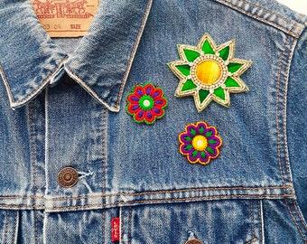 3 Flower Embroidered Badges
