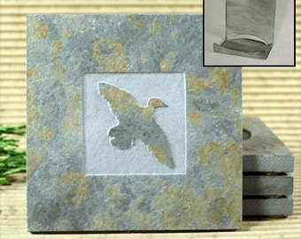 Duck - Real Etched Slate Coaster Set with Holder