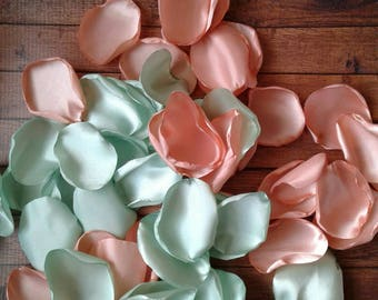 Peach wedding etsy mint rose petals mint wedding peach wedding peach rose petals wedding decor junglespirit Gallery