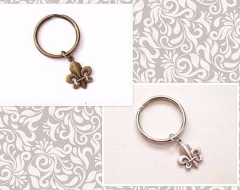 Fleur de Lis Keychain, French Flower Key Ring, Choice of Silver or Antiqued Brass  Keychain, Brass Fleur de Lis, Silver Fleur de Lis