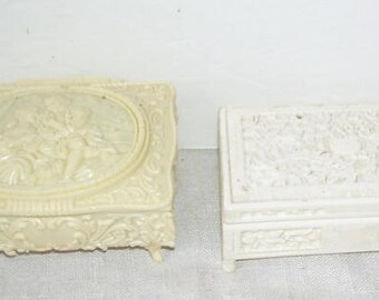 2 Celluloid Footed Vanity Jewelry Boxes, Jewelry Storage, 2 Trinket Boxes, Valentine Present, Vanity Display, Sculptured Celluloid