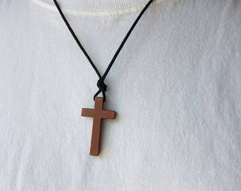 Mens Wooden cross - Mens Cross Necklace - Wood cross - Stunning Wood cross