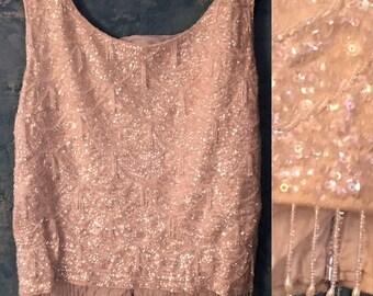 Vintage top,blush colored,blush top,embroidered,vintage beaded,beaded blouse,retro tank top,sparkly beads,fringe hem,pink vintage,blush pink