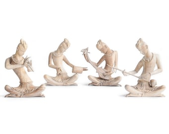 """Thai Musicians Playing Traditional Instruments in Set (4), Hand carved and Hand Painted Wooden Sculptures, Handmade, Thailand. 5""""Lx12""""Wx14""""H"""