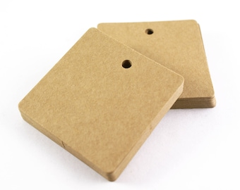 25 KRAFT BROWN blank hang tags - 59mm square gift tags or parcel tags with rounded corners - gift wrapping, stamping