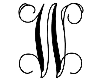Vine Monogram Decal One Initial, One Letter Monogram Sticker, Fancy Initial Decal, Single Letter Monogram, Vinyl Letter, Initial Decal