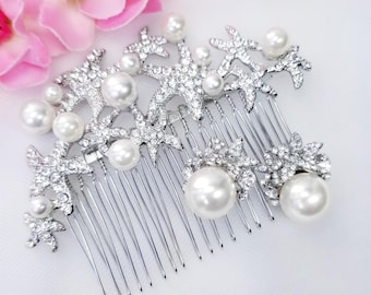 Starfish Hair Comb and Earrings, Clip Ons Available, Beach Wedding Jewelry Sets, Mermaid Jewelry Sets, Starfish Earring, Destination Wedding