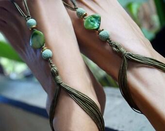 Green Tone Barefoot Sandal, Shell Barefoot Sandals, Boho Barefoot Sandals, Foot Jewelry, Shell Anklets, 1 Pair