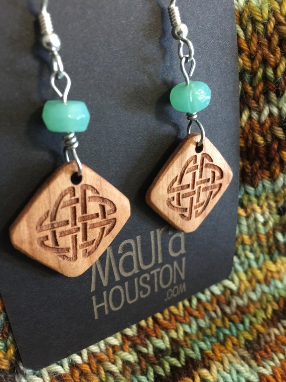 Celtic Knot Earrings with Bead