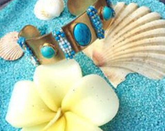 Bahia - Cuff with turquoise beads and stones