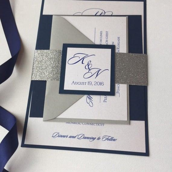 Dark Blue Wedding Invitations: Navy Blue And Silver Wedding Invitations Dark Blue Blue