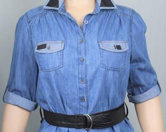 Upcycled denim and leather belted longline shirt UK16/18
