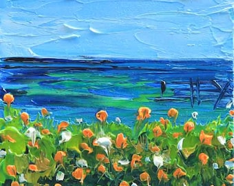 California Art, Monterey Bay, California Painting, California Landscape, Oil painting, Original Art, 6x6, California Poppies, Art,California