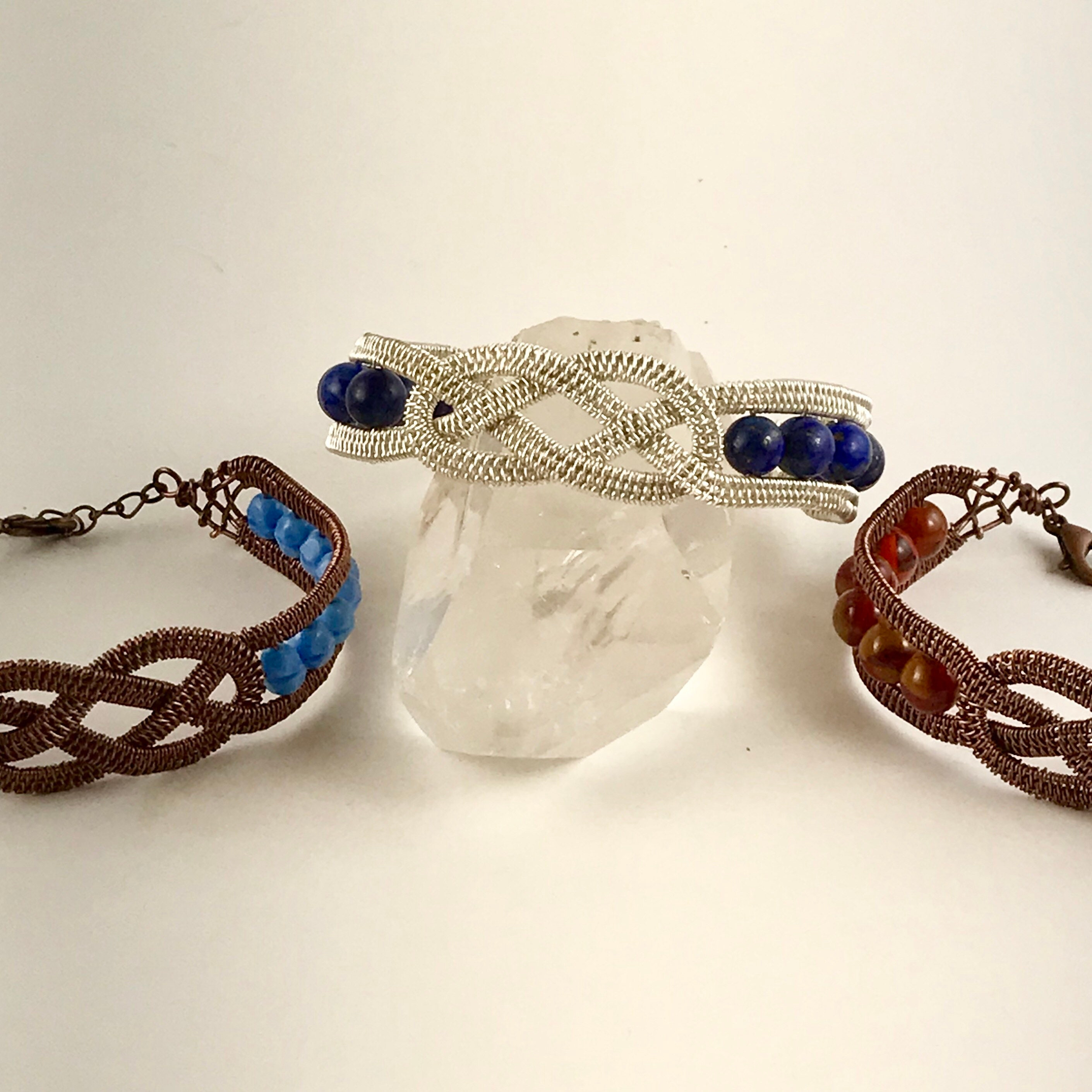 Lady of Shallot, Beaded Celtic Wire Work Bracelet and Earrings ...