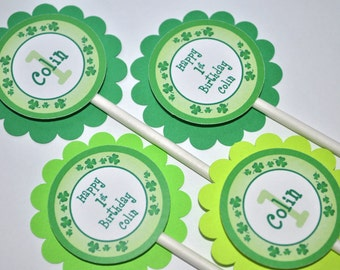 Cupcake Toppers, St. Patrick's Day Birthday Party Decorations, 1st Birthday Party Cupcake Toppers, Shamrocks, Clovers, Green - Set of 12