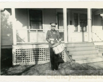 vintage photo 1959 Young Teen Boy Plays Drum in Uniform in Front Yard Snapshot